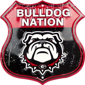 Georgia Bulldog Nation Embossed Metal Shield Sign
