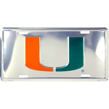 Miami Hurricanes Chrome License Plate