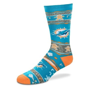 Miami Dolphins Merchandise - Ugly Sweater Christmas Crew Cut Socks