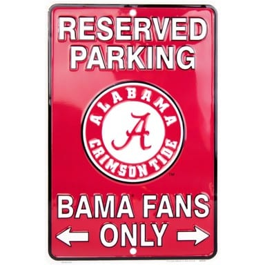 Alabama Crimson Tide Reserved Sign