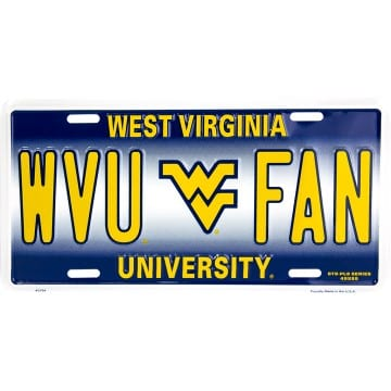 WVU Mountaineers Metal License Plate