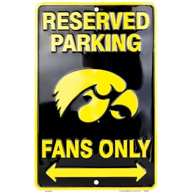 Iowa Hawkeyes Reserved Parking Sign