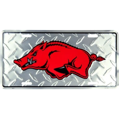 Arkansas Razorbacks Merchandise - Diamond Plate Auto Tag