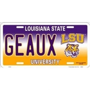LSU Tigers GEAUX License Plate