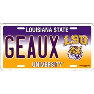 LSU Tigers Merchandise - GEAUX License Plate