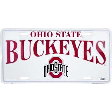 Ohio State Buckeyes White License Plate