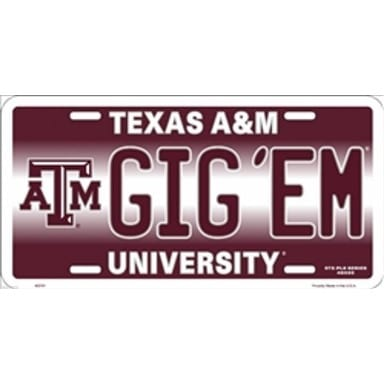 Texas A&M Aggies Merchandise - Gig Em License Plate