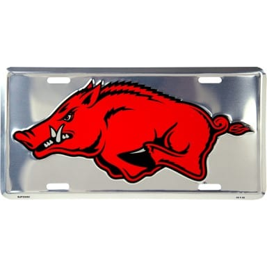 Arkansas Razorbacks Chrome License Plate