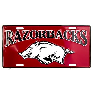 Arkansas Razorbacks Red License Plate