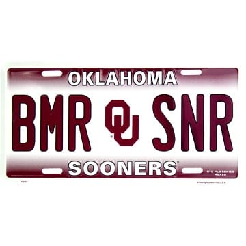 Oklahoma Sooners Merchandise - BMR SNR License Plate