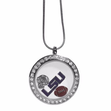 LSU Tigers Merchandise - Floating Charm Locket Necklace