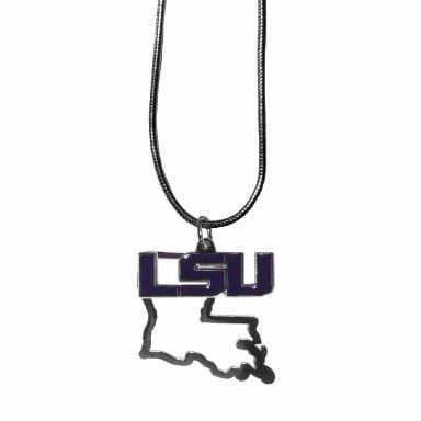 LSU Tigers Merchandise - Home State Charm Necklace