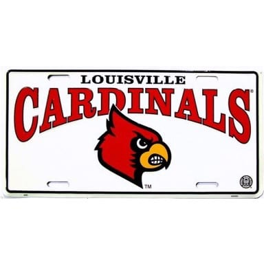 Louisville Cardinals Merchandise - White License Plate