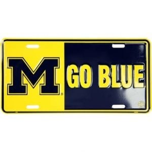 Michigan Wolverines Go Blue License Plate