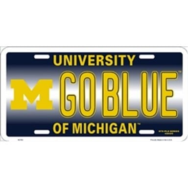 Michigan Wolverines Merchandise - Go Blue License Plate