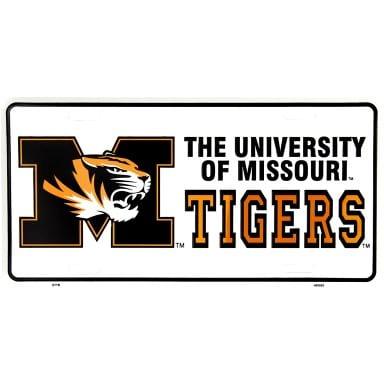 Missouri Tigers Merchandise - White License Plate