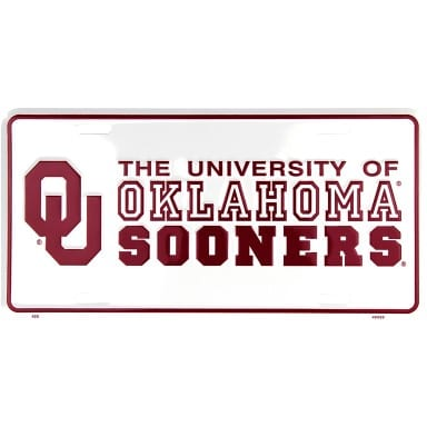 Oklahoma Sooners Merchandise - White License Plate