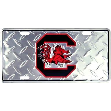 South Carolina Gamecocks Diamond Plate Auto Tag