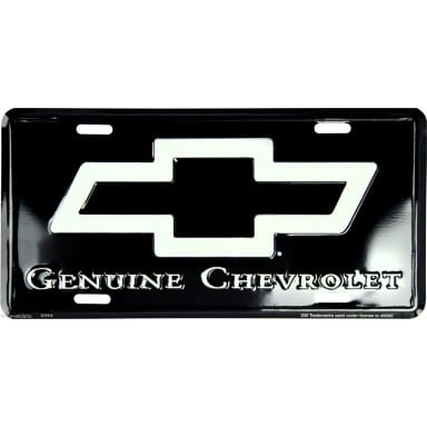 Chevy Gray Logo on Black License Plate