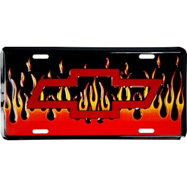 Chevrolet Merchandise - Bow Tie With Flames License Plate