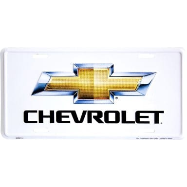 Chevy Gold Logo on White License Plate