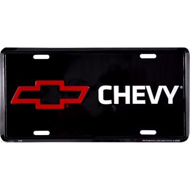 Chevy Bow Tie On Black License Plate
