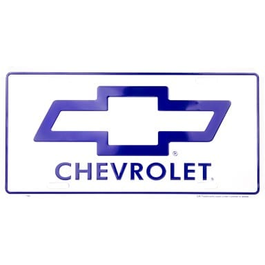 Chevy Blue Logo on White License Plate