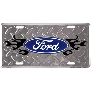 Ford Diamond Plate Flames License Plate