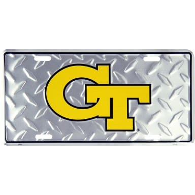 Georgia Tech Diamond Plate Auto Tag