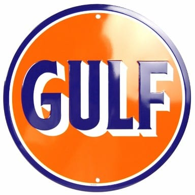 Gulf Oil and Gasoline Orange Circle Sign