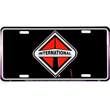 International Trucks Black License Plate