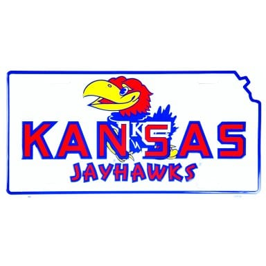 Kansas Jayhawks Merchandise - White License Plate