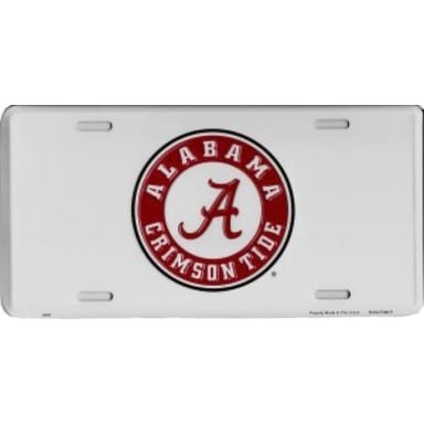 Alabama Crimson Tide Merchandise - White License Plate