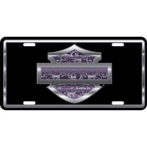 Auto Tag - Harley Purple Filigree Bar and Shield