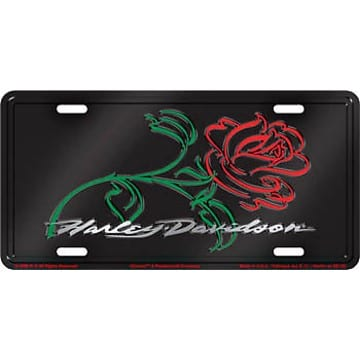 Harley Davidson Merchandise - Rose License Plate