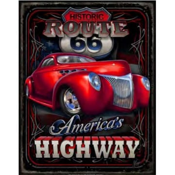Route 66 Merchandise - Americas Highway Metal Sign