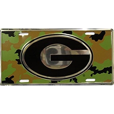 Georgia Bulldogs Camo and Chrome License Plate