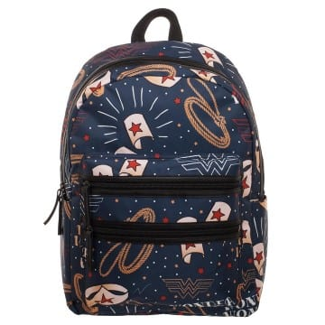 Wonder Woman Symbols Double Zip Deluxe Backpack Book Bag