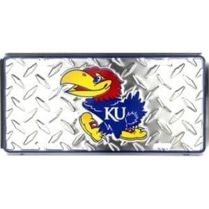 Kansas Jayhawks Merchandise - Diamond Plate License Plate