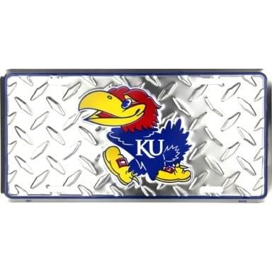 Kansas Jayhawks Merchandise - Diamond Plate License Plate