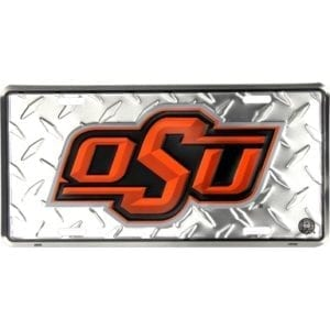 Oklahoma State Cowboys Merchandise - Diamond Plate License Plate